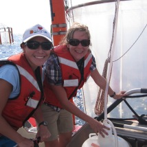 Daniela and Shimi sampling from a mesocosm on the BAG-1 research cruise